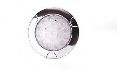 Zadní LED couvací světlo kulaté s chromovým rámečkem