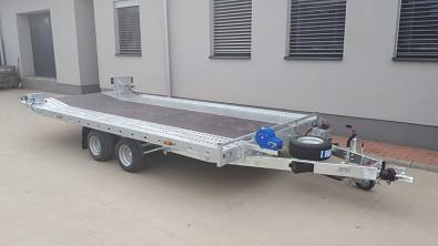 Přívěs UNK AD2100x4100 plato sklopné rampa 2700kg masivní autopřepravník