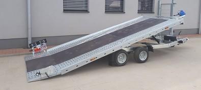 Přívěs UNK AD2100x4100 plato sklopné rampa 2700kg - otočná světla