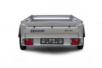 Přívěs Zaslaw 265SU 265x132x35 750kg sklopný zadní pohled přívěsu
