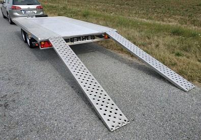 Přívěs FLAT ALU 406x200 cm 2,7t hliníkový - vytažené nájezdy