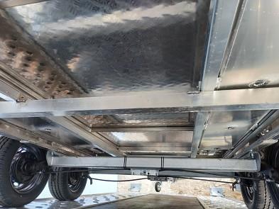 Přívěs FLAT ALU 406x200 cm 2,7t hliníkový - spodní pohled na rám autopřepravníku