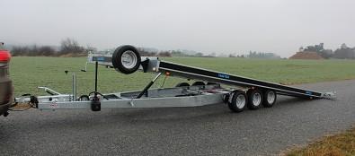 Přívěs martz GT 580 Kippar 3500kg sklopný - hydraulicky sklopná korba pro bezpečné najetí automobilu