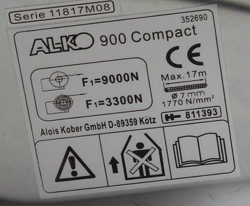 štítek navijáku AL-KO compact 900kg