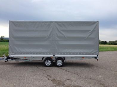 Přívěs UNK 2200x5000 valník 3500kg s plachtou