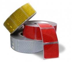 Reflexná páska červená segment / 1m na plachtovinu