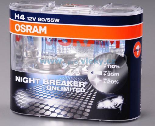 H4 12V 60/55W P43t NIGHT BREAKER UNLIMITED +110% 2ks box OSRAM