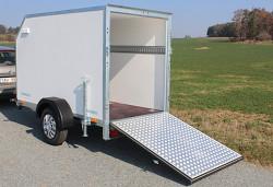 Přívěs Tomplan překližkový skříňový TFDS 250.01 1300kg rampa